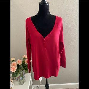 Joe Fresh Women's Red Top Blouse Long Sleeves 2X